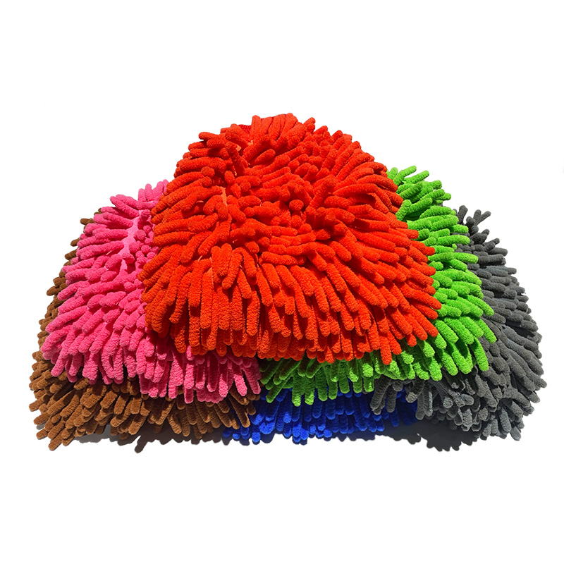 New double-sided thick waterproof chenille Microfiber mitt coral car wash cleaning car wash mitt