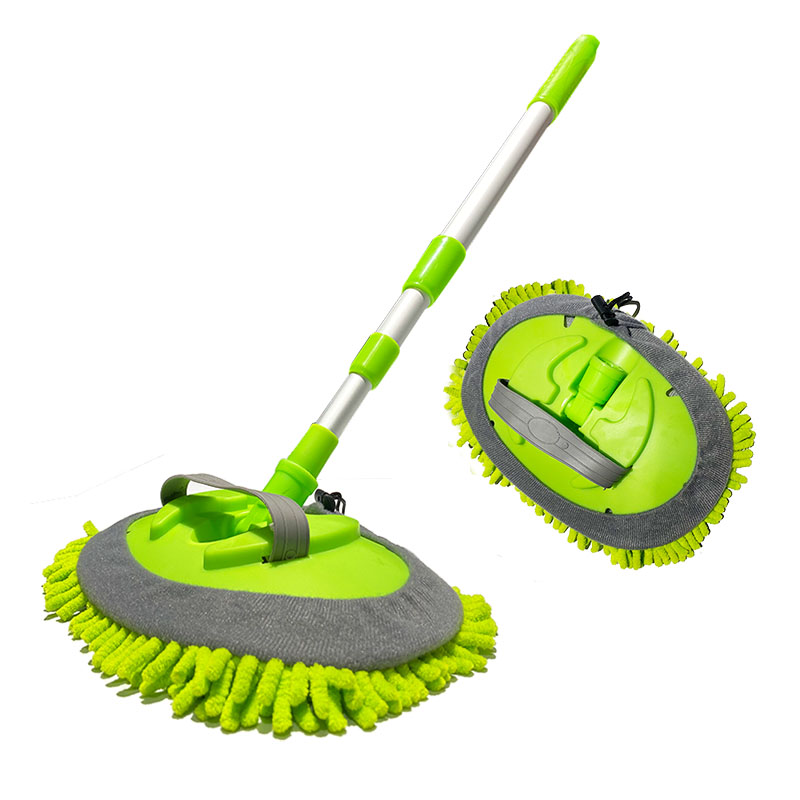 Head Detachable car  wash brush cleaner Chenille Microfiber car wash  mitt with  long Handle