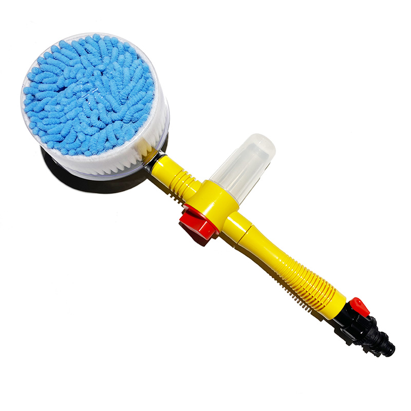 New  auto 360 degree water flow rotating car wash brush with soap dispenser long handle