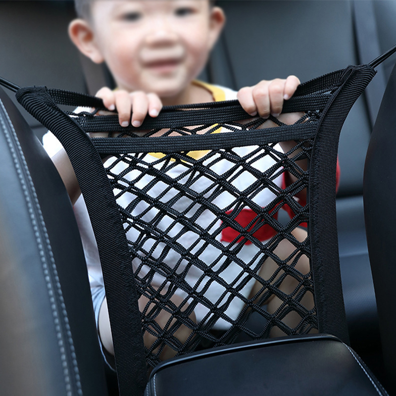 Universal double layer Car Mesh Seat Bag Pet Barrier Car Storage Organizer Net